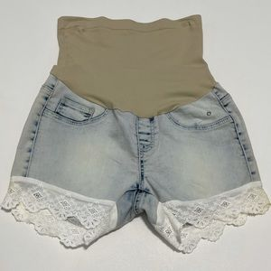 Vintage Violet Denim Lace Maternity Shorts Small